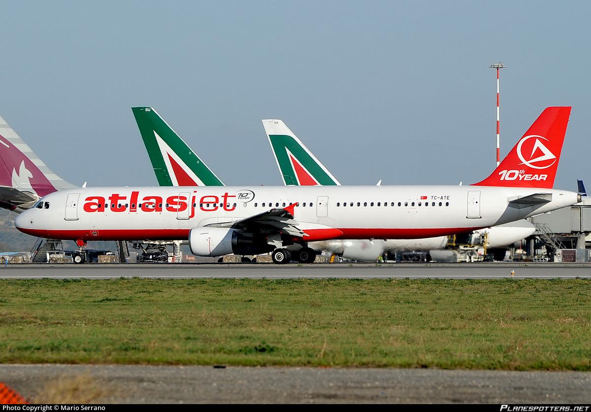TC-ATE Atlasjet Airbus A321-211 photographed at Rome Fiumicino (Leonardo da Vinci) (FCO / LIRF) by Mario Serrano
