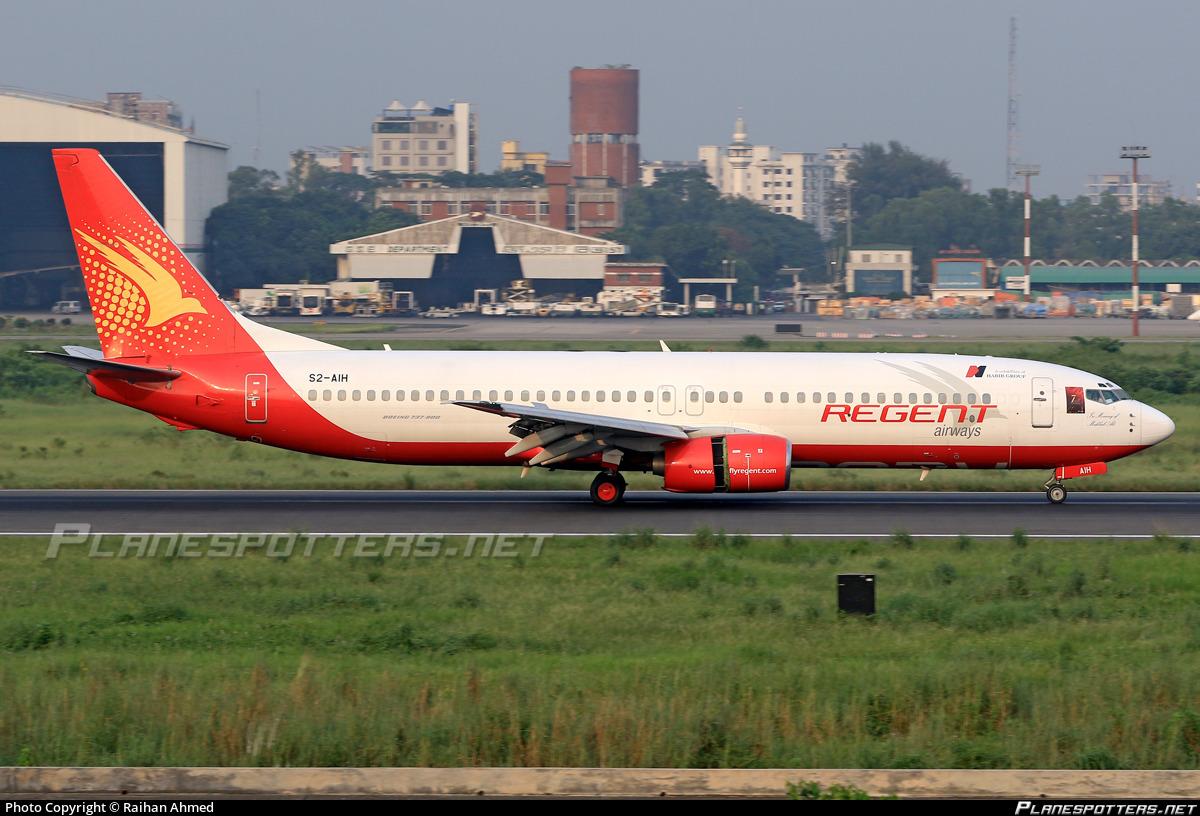 S2-AIH Regent Airways Boeing 737-86N photographed at Dhaka Hazrat Shahjalal (Zia Intl.) (DAC / VGHS) by Raihan Ahmed