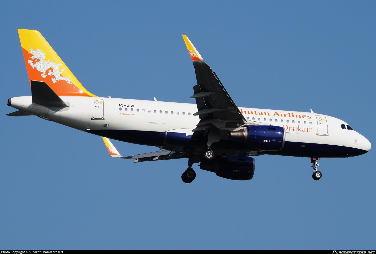 A5 Jsw Druk Air Royal Bhutan Airlines Airbus A319 115wl Photo By